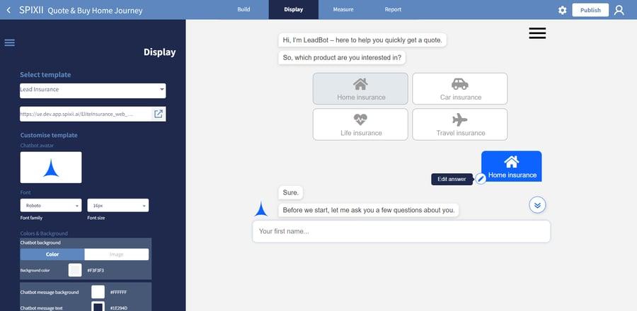spixii conversational process automation platform display module
