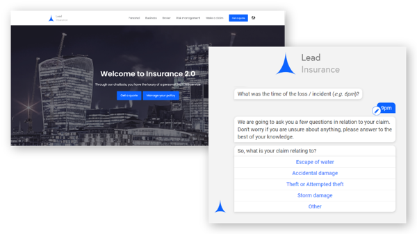 Demo with web page and chatbot conversation for claims