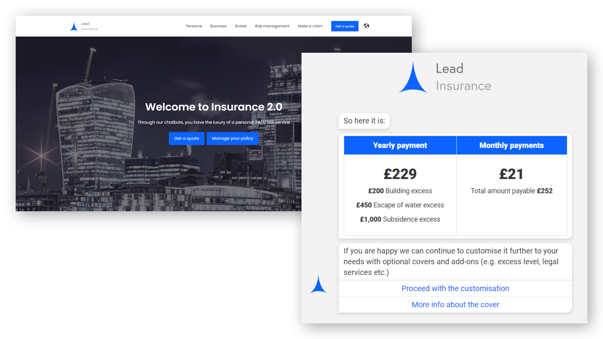Demo with web page and chatbot conversation with insurance quote