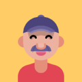 Icon of smiling men with hat and moustaches