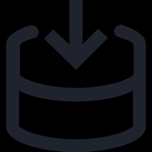 icon of arrow entering database